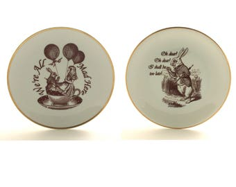 SALE Recycled Alice in Wonderland Vintage Porcelain Plate Home Decor Lewis Carroll Sugar-White We Are All Mad Here