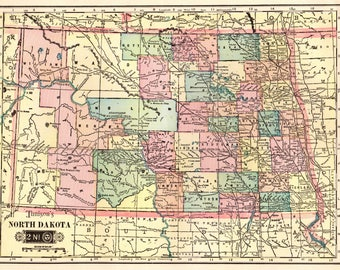 1903 NORTH DAKOTA Map of North Dakota State Map Print  1900s Travel Gallery Wall Art Map Collector Gift for Traveler 798