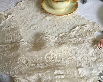 """Gorgeous Ivory Floral Doily Dresser Scarf/Table Cover/Runner-37"""" x 12"""""""