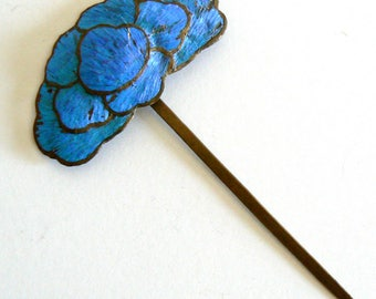 Large Qing Dynasty Kingfisher feather Hair Pin Antique VINTAGE Chinese 19th Centry China
