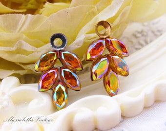 Vintage AB Topaz Rhinestone Leaf Drops Earring Dangles Pendants Raw Brass or Antique Silver Settings 21x11mm - 2