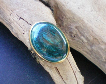 Teal green swirled adjustable ring, Recycled jewelry, Handmade jewelry, Repurposed jewelry,Upcycled jewlery,Free USA shipping,Made in USA/MI