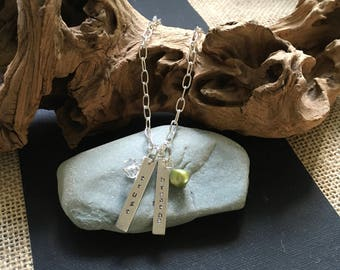 Silver stamped trust and breathe necklace