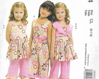 "2010 McCall's 6064  Girl's Bolero, Dress, Jumper and Pants Sewing Pattern Size 6-7-8 Breast 25""-26""-27"" UNCUT"