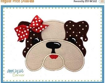 50% Off 018 Bulldog girl applique digital design for embroidery machine by Applique Corner