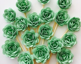 24 Pcs 3D ROSETTES MINT Cupcake Toppers - Birthday Party, Cupcake Toppers, Bridal Shower, Wedding