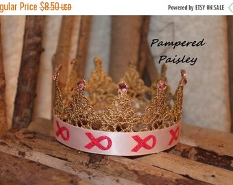 Birthday sale Ready to Ship- SALE -Breast cancer pink ribbon crown, baby girl crown, Gold crown, Crown, princess crown, photo prop crown, bi