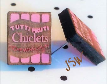 CHICLETS Wooden Laser Cut Hand Painted Stud Earrings