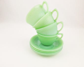 Jane Ray - Set Of Four - Fire King Jadeite 'Jane Ray' Pattern Cup and Saucer - Jadeite Green Milk Glass  - Fire King Jadeite - Popular Color