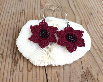 Star Earrings, Burgundy Earrings, Boho Beaded Earrings, Crochet Earrings, Flower Oya Earrings, Beadwork, Crochet Jewelry, Christmas Gift