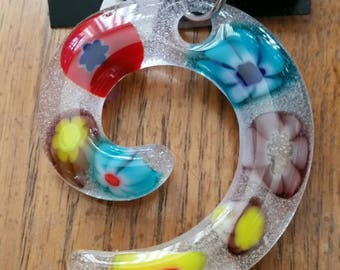 Spiral Flowers Fused Glass Pendant