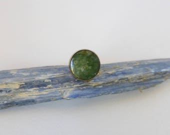 Men's 1960's Gold and Round Green Jade Tie Tack