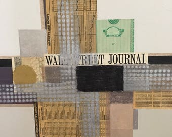 Original Wall Street Journal NYC Mixed Media Art Patrick McNurney