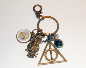 Harry Potter Inspired Key Chain, Harry Potter Purse Charm, Key Ring, Harry Potter Gifts, Book Club Gifts, Deathly Hallows Key Chain