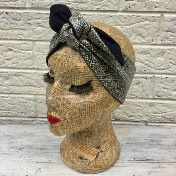 Snakeskin Faux Leather Headscarf Rockabilly Pinup 1950's Inspired