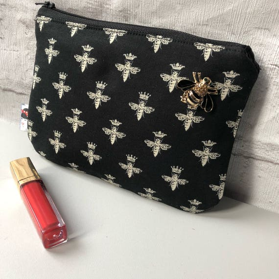 Queen Bee Cosmetic Make up Bag Black and Gold