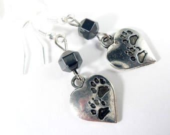 Dog Paw Charm Earrings with Hematite, Paw Earrings, Hematite Earrings, Gemstone Earrings, Womens Jewelry, Dog Lover Gift, Dog Groomer Gifts