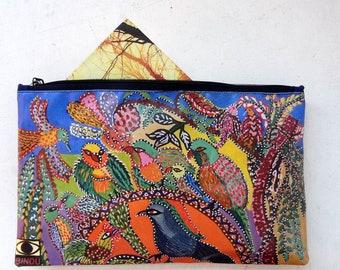 """Pochette rectangulaire  en toile canvas """"la discussion"""" reproduction d une peinture originale  de la BINDU ART SCHOOL"""
