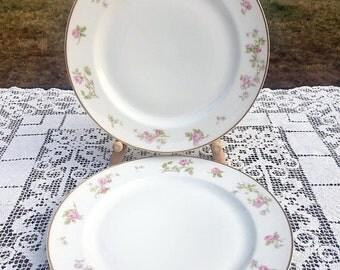 "17% OFF SALE 2 Haviland Limoges France White With Rose Border Dinner Plates Gold Trim 9 and 4/8""  Imported by Geo.V Millar & Co. Scranton Pa"