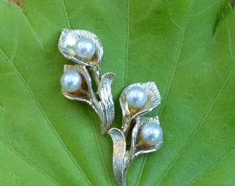 DEADsy LAST GASP SALE simple & elegant earrings, Aaa Saltwater Pearls set in 14K Yellow Gold Lily Leaves / Petals / Fronds
