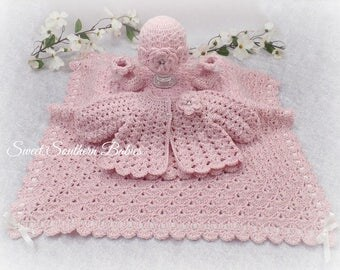 Pink Baby Gift Set - Sweater/blanket/Booties/Beanie - Baptism, Christening, Blessing - Coming Home Set