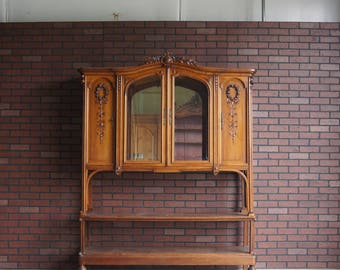 Antique French Hutch / Display Cabinet / French Provincial Bookcase / China Hutch / Vaisselier