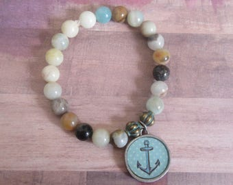 Anchor Charm Stretch Beaded Bracelet with Beachy Agate Beads