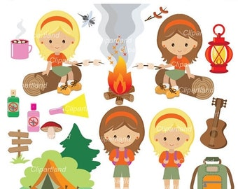 ON SALE INSTANT Download. CCam_17_Camping_girls. Camping clip art. Personal and commercial use.