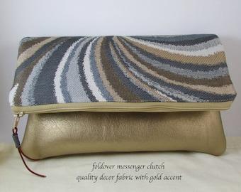 Clutch Bag - Grey Khaki Decor Fabric - Great Gift Idea - Evening Bag - Handbag - Wristlet Bag with Gold Vinyl Bottom - Purse - Gift Idea