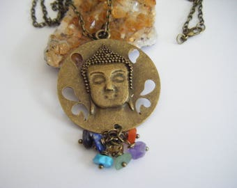 "Spiritual Inspirational Healing Buddha Chakra Beads Choker Necklace Yoga Meditation Wellness Oneness Cosmic Gemstone Crystals Eco Beads 30"""
