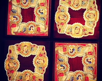 2017 Cigar Band Collage Coaster: Ltd. Ed. La Aroma Romance on wood. (set of 4)