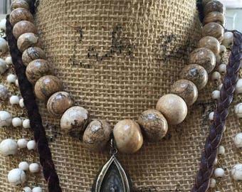 Jasper Beads, Graduated, Picture Jasper, graduated Picture Jasper, ~45  per strand,large to small Jasper beads, picture Jasper
