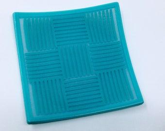 Fused Glass Patchwork Dish, Blue Opaline Strip Cut Art Glass Plate