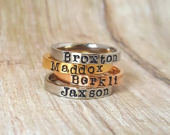 Tri Color Stacking Rings, Name Ring, Stackable Personalized Ring, Mothers Ring, Personalized Mothers Ring, Custom Jewelry, Hand Stamped Ring