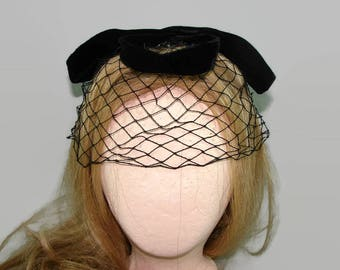 Black Birdcage Hat, Black Velvet Bow Hat, Black Netting Veil Fascinator