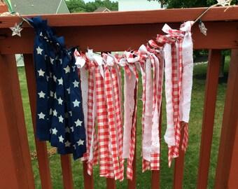 Shabby patriotic rag flag garland
