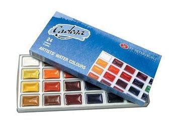 Set of 24 Artists Watercolors LADOGA, 24 colors in 2.5 ml full pans watercolors Professional Watercolors Russian Watercolors