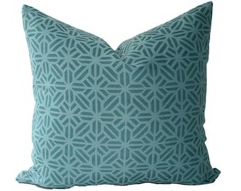 Decorative Designer Outdoor Aquamarine Geometric Pillow Cover, 18x18, 20x20, 22x22 or Lumbar Throw Pillow