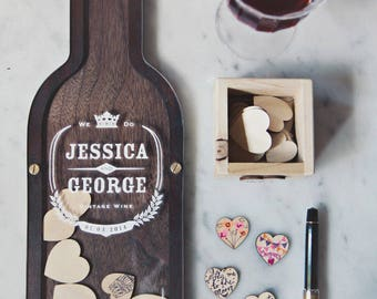 RESERVED for MARIE: Wine Bottle Wedding Guest Book alternative - Drop Hearts 21st birthday, anniversary gift-  SIZE 0