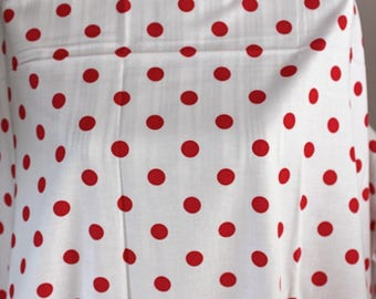 White cotton with red polka dot fabric