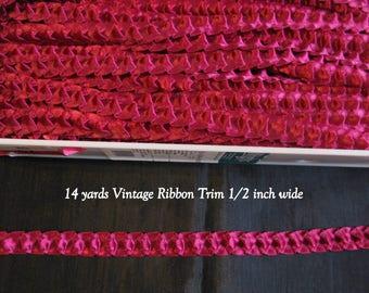 Burgundy ribbon smocking, 14 yards vintage ribbons garland