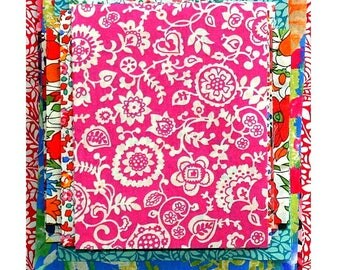 "Liberty of London Fabric 4"" x 4"" + 3"" x 3"" Scrap Bag Bundle Medium Bright Colours Small Mini Patchwork Quilting Pack Floral Tana Lawn"