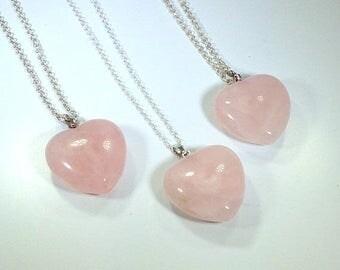 10% off SALE Rose Quartz Necklace Womens Silver Jewelry Heart Necklace on Sterling Silver Rose Quartz Pendant Rose Quartz Jewelry Bohemian N