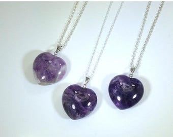 10% off CIJ SALE Amethyst Necklace Amethyst Pendant Heart Necklace Amethyst Heart on Sterling Silver Amethyst Jewelry February Birthstone