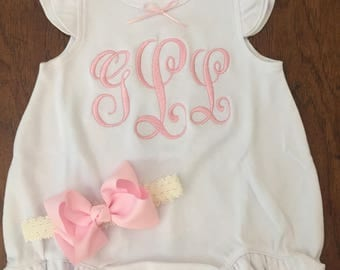 Newborn Girl Take Home outfit -Personalized Baby Girls Ruffle Baby Romperwith bow headband- baby girls  - monogrammed - So sweet.