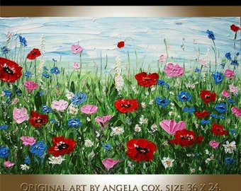 SALE Original MODERN  Handpainted Floral  Poppies  Flowers Acrylic Impasto Palette Knife Painting. MADE2OrdeR.
