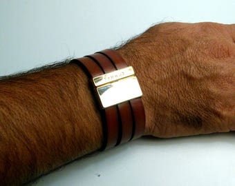 cuff leather man whiskey clasp gold