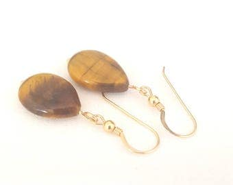 Tigers-eye earrings with gold filled hoops