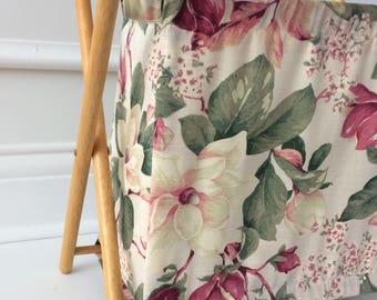 vintage folding wood & cloth sewing knitting basket / magazine rack