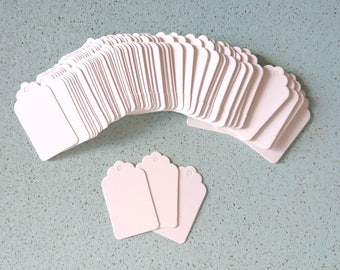 Gift tags paper white - lot of 50 for gifts, place markers, labeling 3cm x 5cm